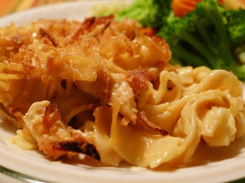 French Onion Chicken Noodle Bake